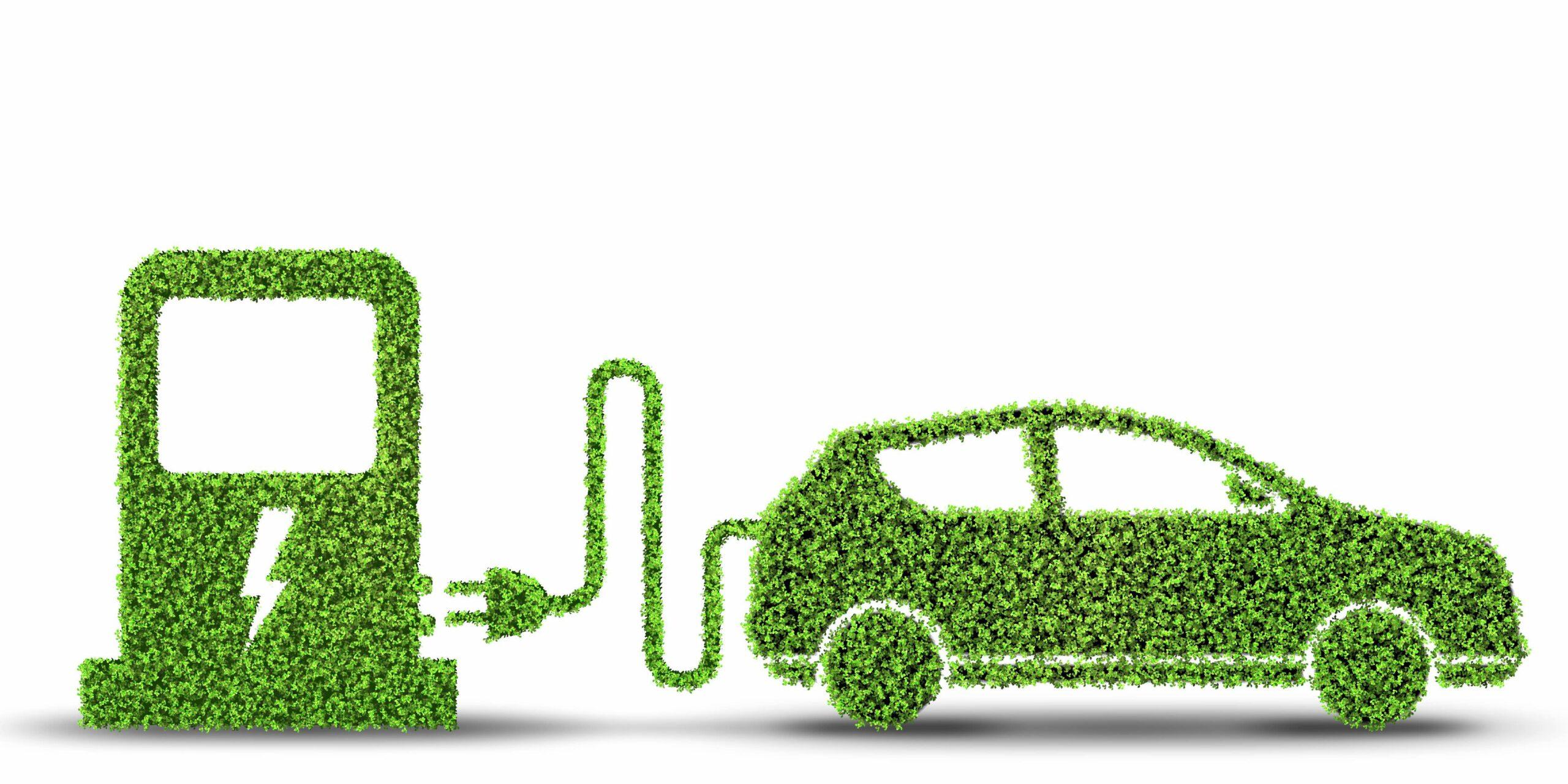 Elbil og ladestander i grønt miljø