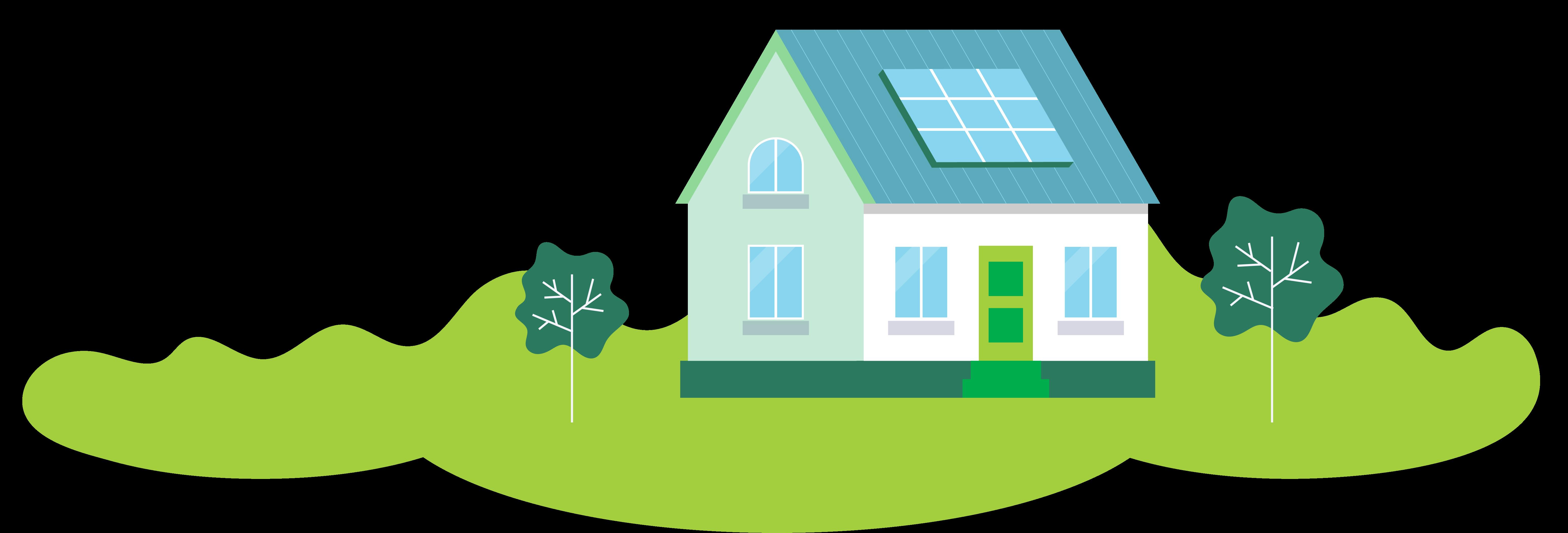 Hus med solceller og grønt område